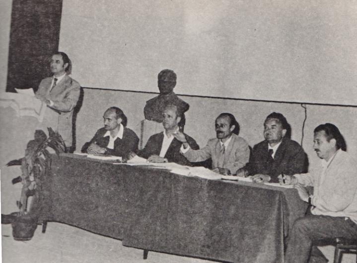 Mujo Hodzic (cetvrti s desna) na sjednici Skupstine opstine Celinac 5. maja 1962.  kojom predsjedava Rajko Kuzmanovic